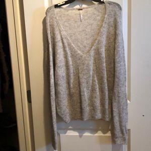 Free people light weight grey sweater